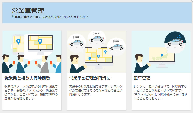 GPSnextは営業車の管理